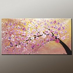 Palette Knife Fine Art Painting On Canvas,Modern Wall Art Landscape Tree 12X24 In/30X60Cm Unframed