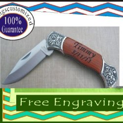 Personalized Engraved Pocket Knife Wood & Matel Handle Wedding Groomsman Gift