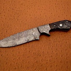 Custom Handmade Damascus Steel Hunting Knife, Scrimshawed Falcon Design On Buffalo Horn Handle