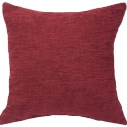 """Textured Jacquard Weave Chenille Burgundy, 16""""X16"""" Decorative Throw Pillow; Fully Assembled And Stuffed In The U.S.A"""