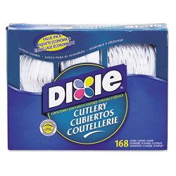Dixie : Heavy-Duty Combo Pack, Tray W/Plastic Forks, Knives Spoons, White, 168 Pieces/Pk -:- Sold As 2 Packs Of - 168 - / - Total Of 336 Each