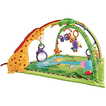 Learning about the magical world of the rainforest is so much fun in a delightful gym with music, lights, nature sounds, and lots of activities and textures to stimulate your growing baby! The activity gym's comfy floor quilt has a soft silky border ...