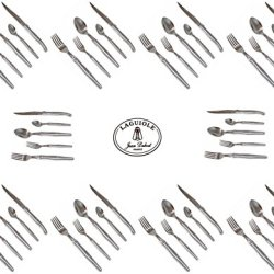 French Laguiole Dubost - Complete Flatware Set For 10 People (50 Pcs) - In All Heavier 25/10 Stainless Steel (Official Laguiole Quality Full Cutlery Family Inox Table Dinner Setting - Direct From France)