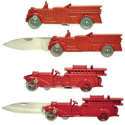 1940'S And 1920'S Vintage Red Fire Engine With Ladder Knife (Set Of 2)