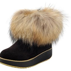 Milanao Women Winter Leather Wedge Thick Soles Sponge Fox Fur Short Snow Boots(8 B(M)Us,Black)