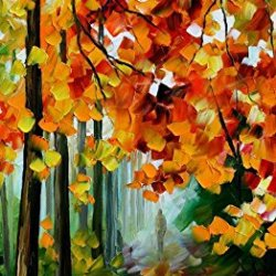 Modern Art Canva Fallen Leaves Painting Knife Paintng Wall Art Canvas Unframed Painting 20X40In/50X100Cm
