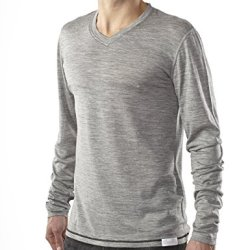 Woolly Clothing Co. Men'S Merino Wool Long Sleeve V-Neck T-Shirt Small Grey With Black Threading