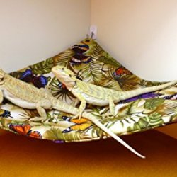 Hammock For Bearded Dragons, Butterflies And Leaves Fabric With Adhesive Hooks