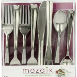 Mozaik Combo Cutlery Set, (40 Forks, 20 Knives, 20 Spoons), 80-Count Plastic Cutlery