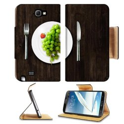 Green Grapes Fork Knife Dish Samsung Galaxy Note 2 N7100 Flip Case Stand Magnetic Cover Open Ports Customized Made To Order Support Ready Premium Deluxe Pu Leather 6 1/16 Inch (154Mm) X 3 5/16 Inch (84Mm) X 9/16 Inch (14Mm) Luxlady Cover Professional Note
