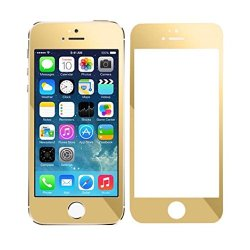Sannysis 1Pc Popular Cool Colorful Plating Tempered Glass Screen Protector Film For Iphone 5 5S 5C (Gold)
