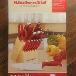 Kitchenaid 16-Pc Red Fine Edge Cutlery Set
