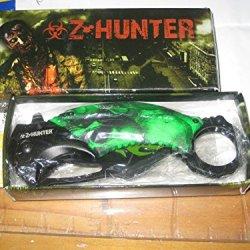 Zombie Hunter Karambit Spring Assist Single Blade Pocket Knife, Green