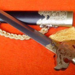 Longquan Sword/Full Tang/Folding Pattern Steel Blade/Handmade/Rosewood Scabbard