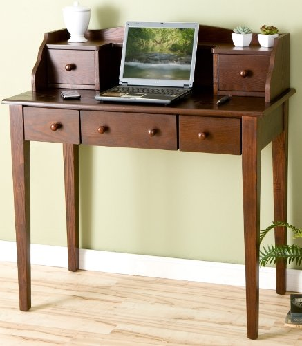 Picture of Comfortable Espresso Finish Computer Secretary Writing Desk (B002V3D5EC) (Computer Desks)