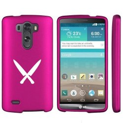 Lg G3 Snap On 2 Piece Rubber Hard Case Cover Chef Knives (Hot Pink)