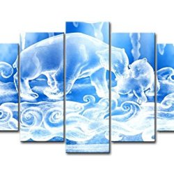 Blue 5 Panel Wall Art Painting White Bluesnow Bears Figure Pictures Prints On Canvas Animal The Picture Decor Oil For Home Modern Decoration Print