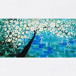 Xm Art-White Lively Flowers Palette Knife Landscape Oil Painting On Canvas Wall Art Deco Home Decoration(Unstretch And No Frame)
