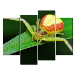 Green 4 Panel Wall Art Painting Crab Spider In The Leaf Pictures Prints On Canvas Animal The Picture Decor Oil For Home Modern Decoration Print For Bedroom