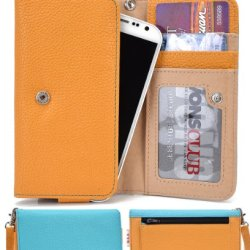 Doogee Dagger Dg550 Wallet Wristlet Case || Mustard Yellow And Sky Blue With Credit Card Holder
