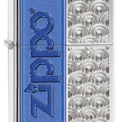Zippo Half Logo Lighter, High Polish Chrome