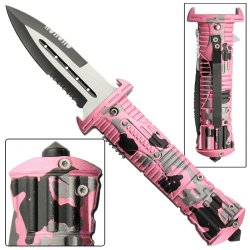 Fatal Attraction Tactical Glass Breaker Military Pocket Pink Camouflage Folding Knife