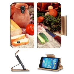 Cucumber Bread Tomato Baked Goods Herbs Knife Samsung Galaxy S4 Flip Cover Case With Card Holder Customized Made To Order Support Ready Premium Deluxe Pu Leather 5 Inch (140Mm) X 3 1/4 Inch (80Mm) X 9/16 Inch (14Mm) Liil S Iv S 4 Professional Cases Access
