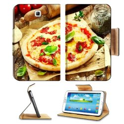 Pizza Dish Food Spices Tomatoes Cheese Dough Knife Fork Samsung Galaxy Tab 3 7.0 Flip Case Stand Magnetic Cover Open Ports Customized Made To Order Support Ready Premium Deluxe Pu Leather 7 12/16 Inch (190Mm) X 5 5/8 Inch (117Mm) X 11/16 Inch (17Mm) Liil