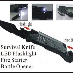 1 Personalized Engraved Pocket Rescue Hunting Knife, Led Flashlight, Bottle Opener, Fire Starter, Holidays Birthday Groomsmen Gifts-Led