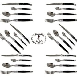 French Laguiole Dubost - Complete 24 Pcs Flatware Set - Black Color - In Heavier 25/10 Stainless Steel - Sharp 2.5 Mm Blade (Full Family Quality Dinner Table Dark Colour Cutlery Setting For 6 People - Direct From France)