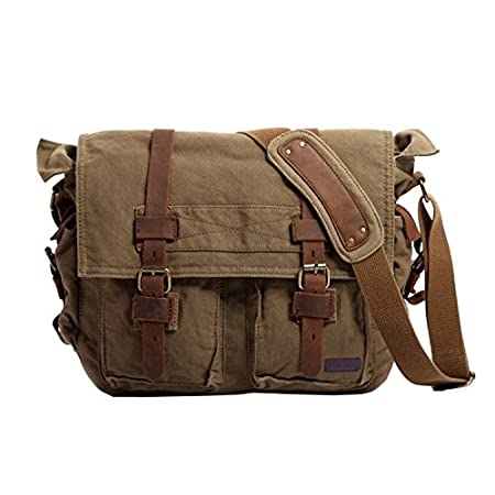 "Introduction: Berchirly brand bag, we pursue high-quality Canvas Messenger Bag, and 100% customer service. This kinds of the Messenger Bag has multiple compartments to store objects, 13.3""""-17.3"""" laptop, book, wallets, notebook,mobile phone,ciga..."
