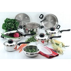 15Pc 12 Element Steam Control Waterless Stainless Steel Cookware Set Pots Pans