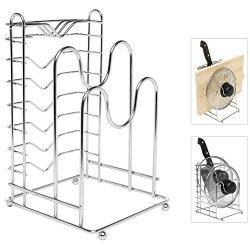 Sleek Modern Stainless Steel Dish / Knife / Pot Lid / Pans / Cookware Space Saving Storage Organizer Rack