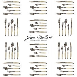 French Laguiole Dubost - Pearl - Complete Flatware Set For 12 People (60 Pcs) - In Heavier 25/10 Stainless Steel (Official Color Laguiole Cutlery Setting - Direct From France)