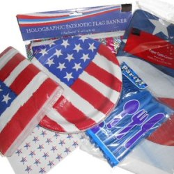 Stars And Stripes Party Supplies - Tablecover, Plates, Napkins, Silverware, Holographic Flag Banner, And 54 Hershey Kiss Labels