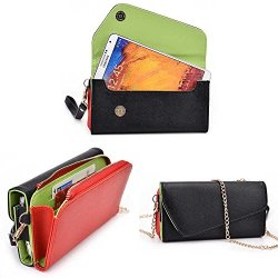 Doogee Dagger Dg550 Wallet Wristlet Clutch With Crossbody Chain And Hand Strap (Removable) And Credit Card Slots| Black, Red Rocket, Cedar Green