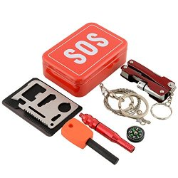 Outdoor Sos Tool Kit For Camping, Hiking, Hunting, Biking, Climbing, Traveling And Emergency. Portable Pocket Size Fire Starter, Knife, Compass, Whistle, Saw, Multipurpose Flash Light Pliers