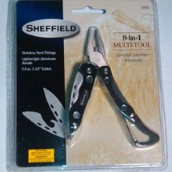 "Sheffield 9-In-1 Multitool, Stainless Steel, Light Wt 2.5"" Blk Carry Pouch"