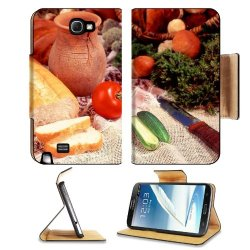 Cucumber Bread Tomato Baked Goods Herbs Knife Samsung Galaxy Note 2 N7100 Flip Case Stand Magnetic Cover Open Ports Customized Made To Order Support Ready Premium Deluxe Pu Leather 6 1/16 Inch (154Mm) X 3 5/16 Inch (84Mm) X 9/16 Inch (14Mm) Liil Note 2 Co