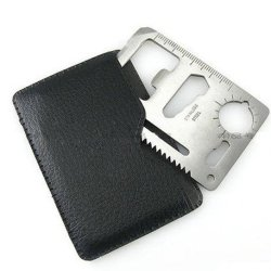 Huayang Outdoor Multi Function Mini Emergency Survival Credit Card Knife Camping Tool 11 In 1 Pack Of 2