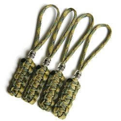 4 Multi Camo Paracord Zipper Pulls Or Knife Lanyards With Skull Alloy Bead