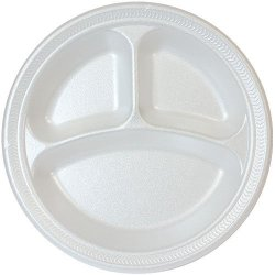 10-Inch White Foam Fast Food Plate 3 Compartment Divided Lunch Plate, Dinner Plate, Appetizer Plate, - 100 Count