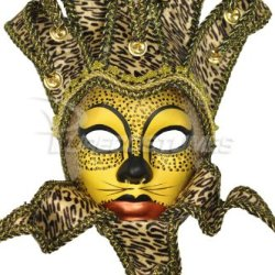 Animal Print Paper Mache Jolly Mask (Cheetah)