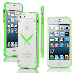 Apple Iphone 5 5S Ultra Thin Transparent Clear Hard Tpu Case Cover Chef Knives (Green)