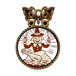 Ancient Style Gold-Plated Thanksgiving Turkey Man With Fork Knife Bowknot Butterfly Round Pin Brooch