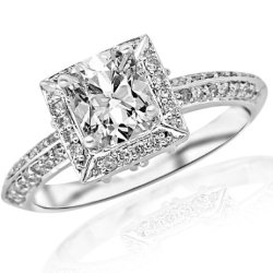 1 Carat Knife Edge Victorian Square Halo Diamond Engagement Ring (D Color, Si2 Clarity) - Cushion Cut/Shape