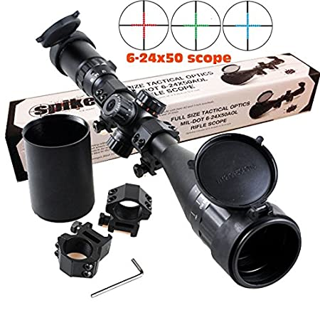 "Description Info: spike 6-24X50 FULL SIZE AO RIFLE SCOPE Magnification:6-24X50 Tube Diameter:1 Inch Objective Diameter:16.1` - 4.0` Field of View @ 100 yards:16.1` - 4.0` Eye Relief:3.3"" - 3.1"" Exit Pupil:8.3mm - 2.1mm Click Value @100 yards:1/4"" Len..."