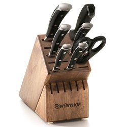 Wusthof Classic Ikon 8-Piece Walnut Block Knife Set, Black