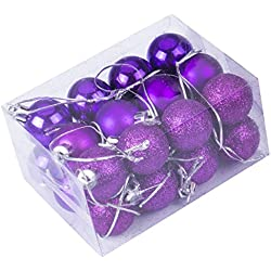 24pcs Christmas Balls Ornament Shatterproof Pendants for Holiday Xmas Garden Decorations (Purple)