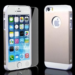 Iphone 5 5S Gold Case + Glass Screen Protector Gold Bundle Combo: Gold Aluminum Metal (7H Hardness, Gold) On Hard Apple Iphone 5 5S Cover Case With Soft Silicone Cushion Plus Scratch Proof Glass Screen Protector. Gold Amplim Alloy Ultra Fs (At&T, Verizon,